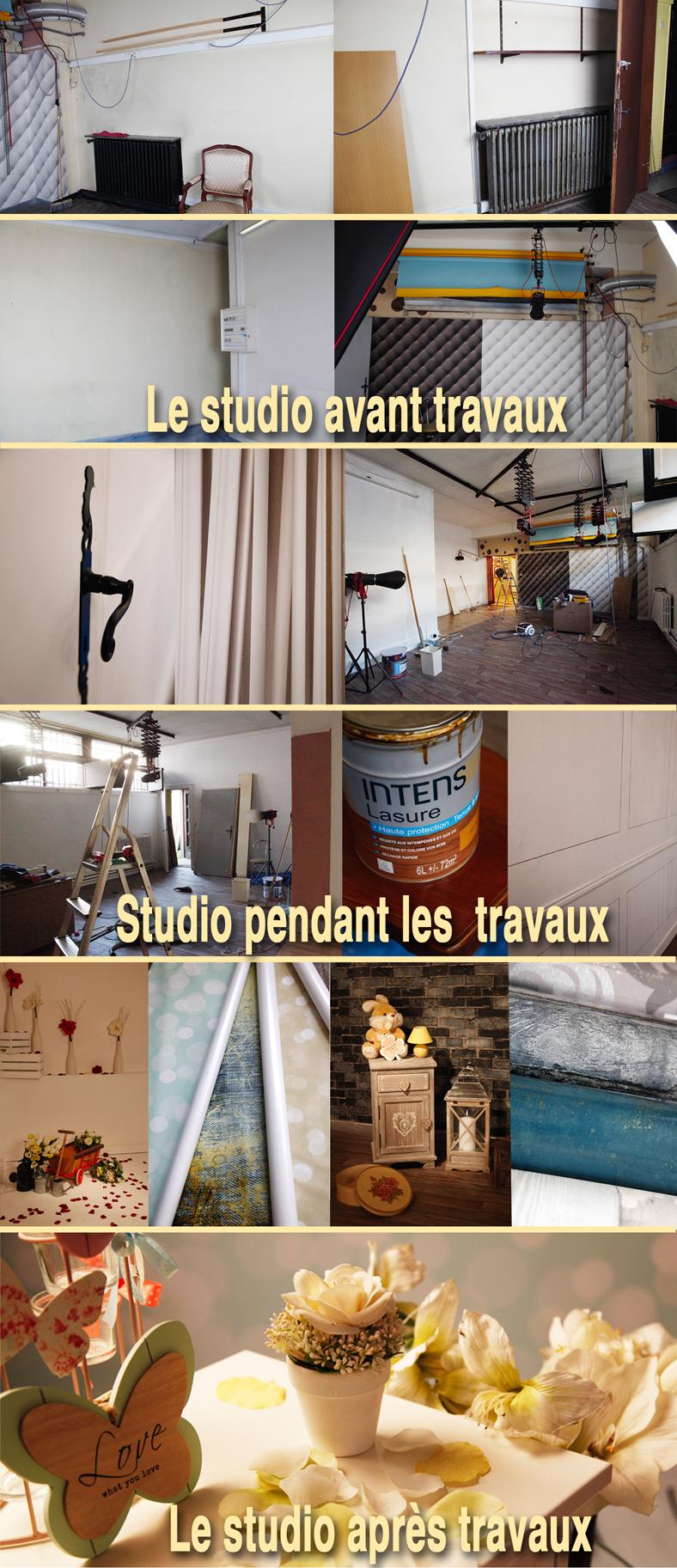 Le studio en travaux : photo avant pendant et après les travaux